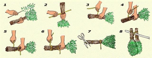 Основные приемы вязания веников