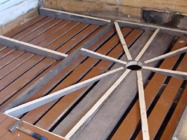С помощью установленных на досках чернового пола брусьев-лаг  формируется уклон в сторону точки слива