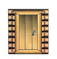 Вид на массивную дверь со стороны парилки