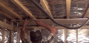 Уплотнение соединения через деревянный брусок
