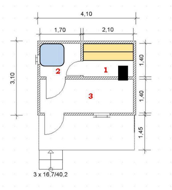 Планировка помещений в бане 3 × 4 м с террасой