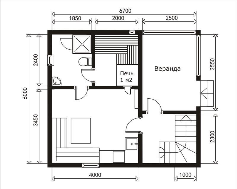 варианты планировки первого этажа, мансардного этажа, а также фронтальный вид строения