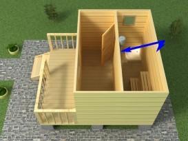 Место, где можно установить внутреннюю перемычку между парной и моечной