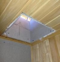 Готовим место для узла прохода дымохода через потолок
