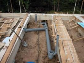 Закладка канализационных труб