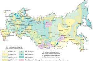 Карта и таблица снеговых нагрузок