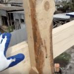 Крепление вертикальной балки к горизонтальной подпорке