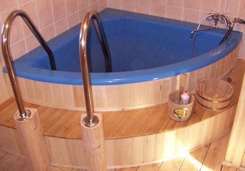 Купель для бани угловая