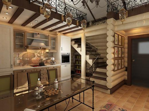 Кухня-гостиная в бане