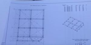 Общий вид фундамента в проекте. Обвязка из бруса