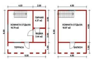 Планировка двухэтажного дома-бани с балконом и террасой