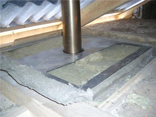 Пример изоляции потолочной разделки базальтовой ватой
