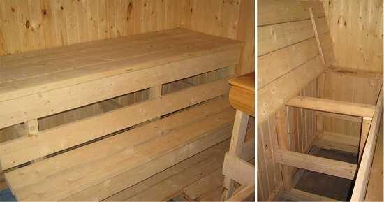 Пример откидного полока в бане