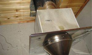 Проход трубы через потолок бани