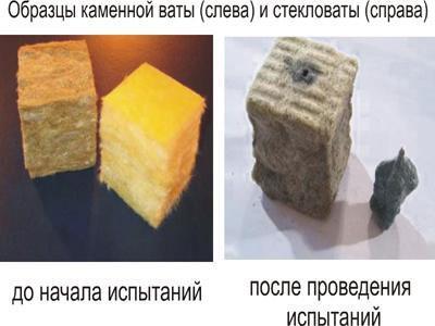 У каменной ваты температура спекания волокон – свыше 1000ºС