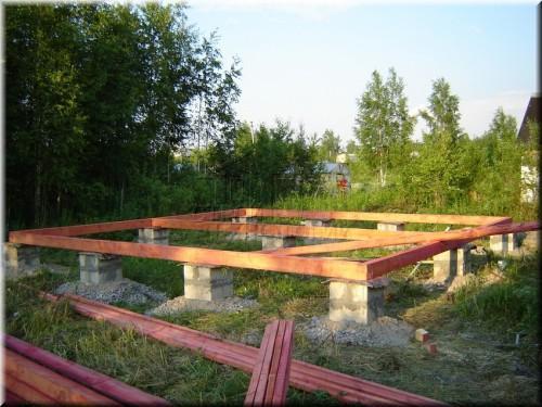 Фото столбчатого фундамента под баню