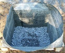 Щебеночная подушка, стенки укрыты рубероидом
