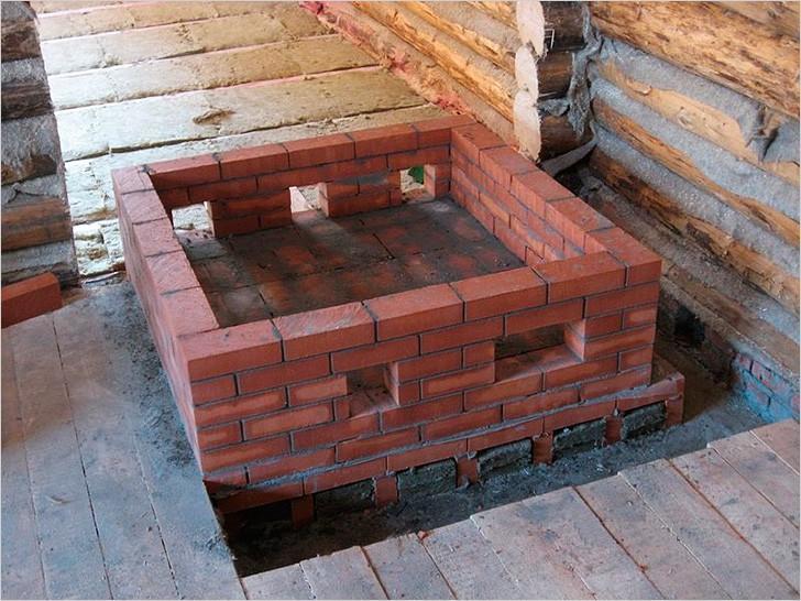 Начало строительства кирпичной печи для бани