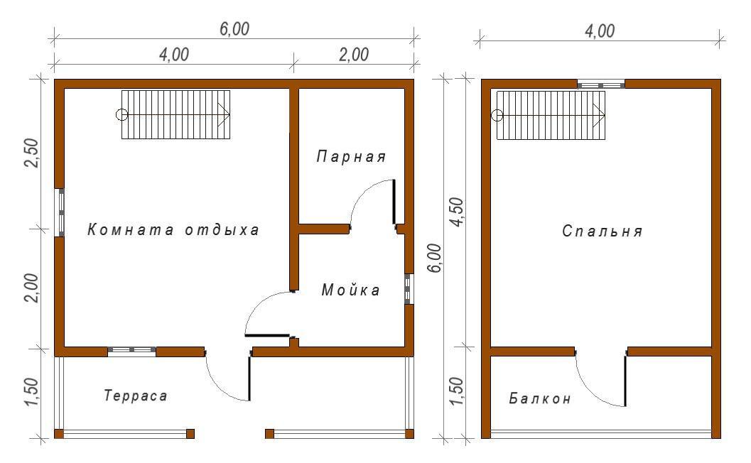 Баня 6х6 м с верандой и мансардным этажом