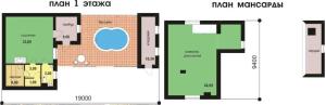 Эксклюзивная баня с огромным бассейном на веранде и мансардным этажом