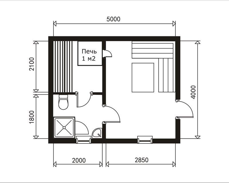 Простейший проект бани 4х5 м