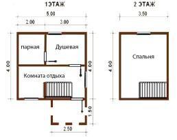 Баня 4х5 м с крыльцом и мансардным этажом