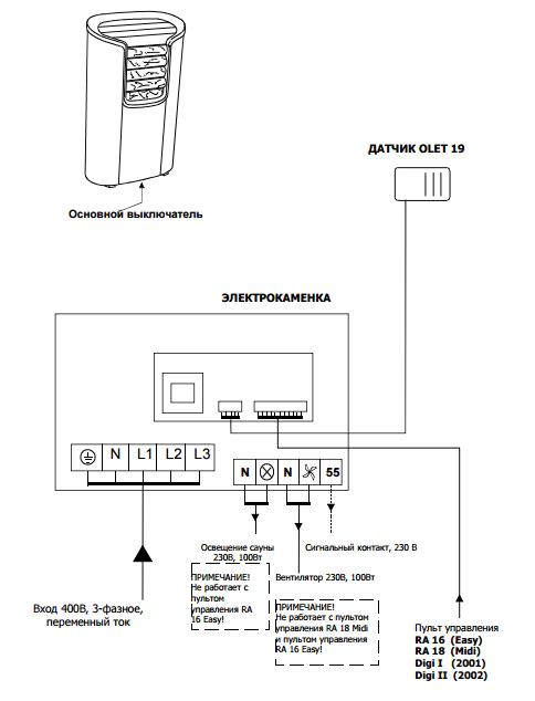 Принципиальная схема подключения электрической печи