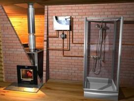 Схема подключения выносного бака и душевой кабины к банной печи