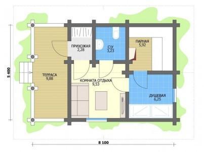Один из наиболее популярных вариантов планировки бани с верандой
