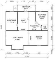 Баня с холлом, спальней, гостиной и кухней