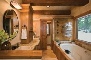 Большая ванная комната в бане