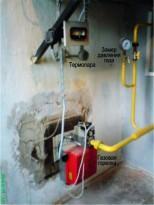 Горелка газовая блочная в печи для бани
