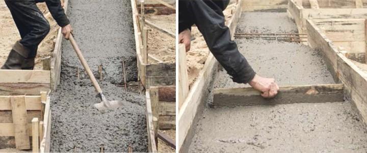 Заливка и разравнивание бетона