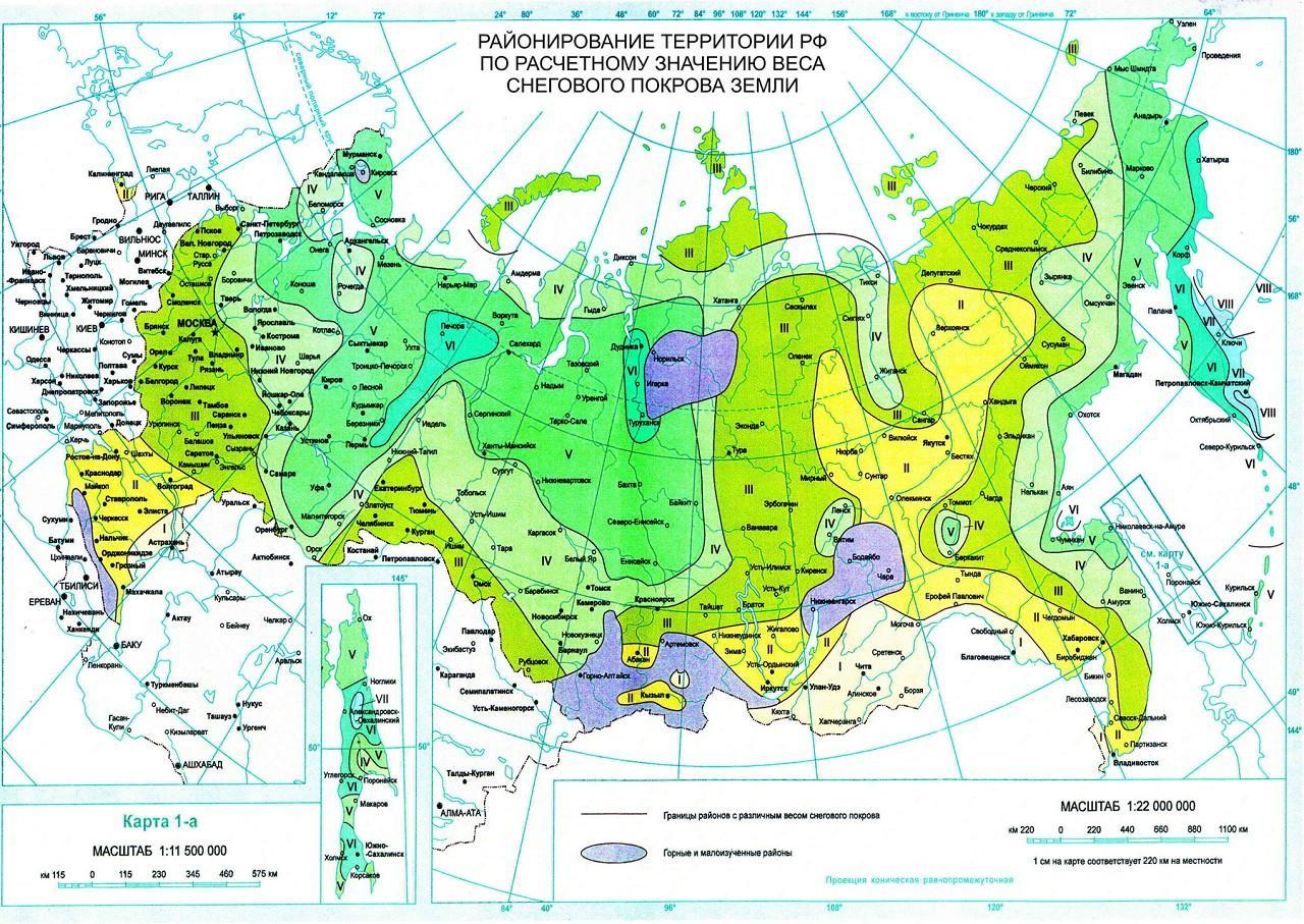 Карта ветровых районов России