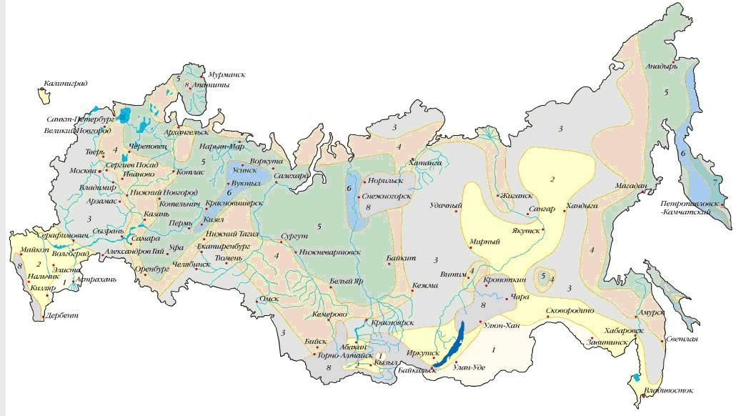 Карта снеговых районов