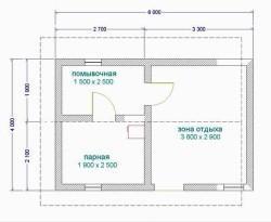Классический проект бани 4х6 м