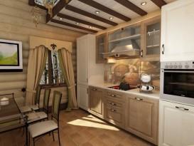 Кухня-гостиная в бане. Проект