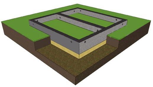 Ленточный фундамент мелкозаглубленный монолитный с закладкой арматуры