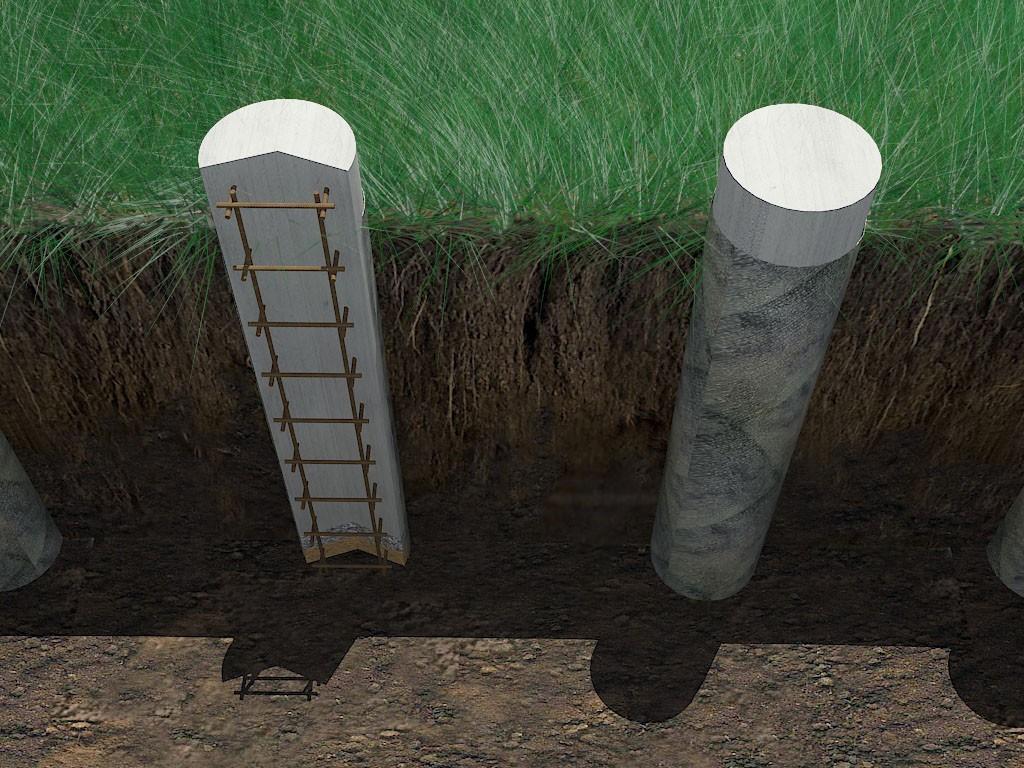 Монолитные столбы из армированного бетона