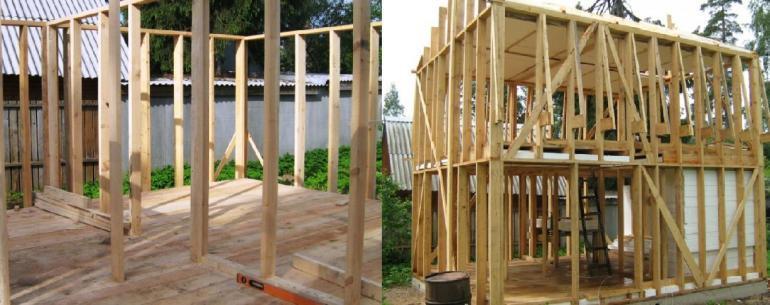 Перегородки первого этажа дома и каркас второго этажа