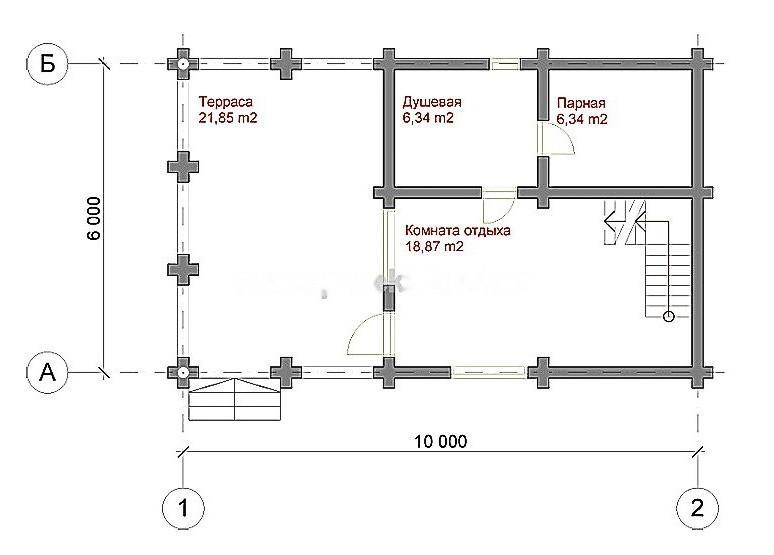 План первого этажа бани №4