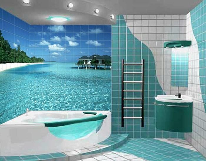 Плитка с фотопечатью уместна для отделки моечного отделения бани