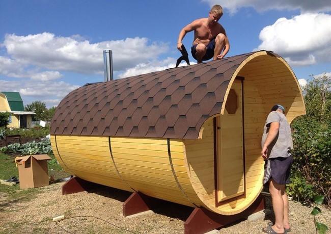 Строительство бани-бочки своими руками: пошаговая инструкция