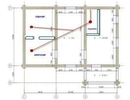 Примерная схема внутренней канализации бани