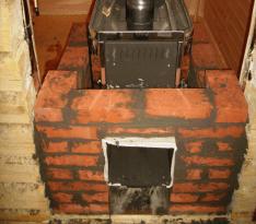 Пример обкладки печи в бане кирпичом