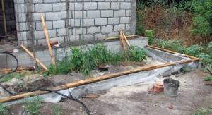 Пример укладки обвязки на фундамент веранды