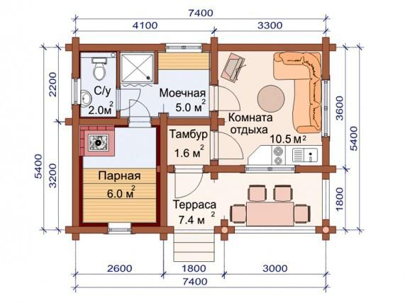 Проект бани-дома (рис. 28)