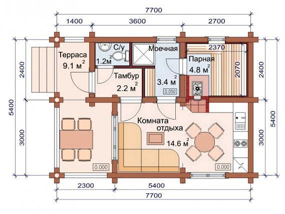 Проект бани-дома (рис. 40)