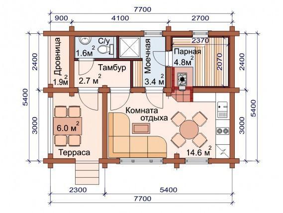 Проект бани-дома (рис. 47)