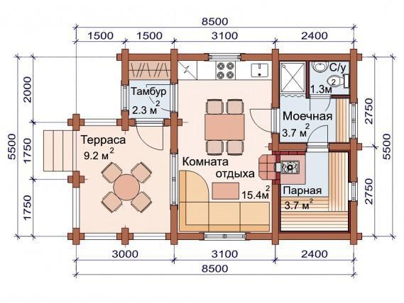 Проект бани-дома (рис. 53)